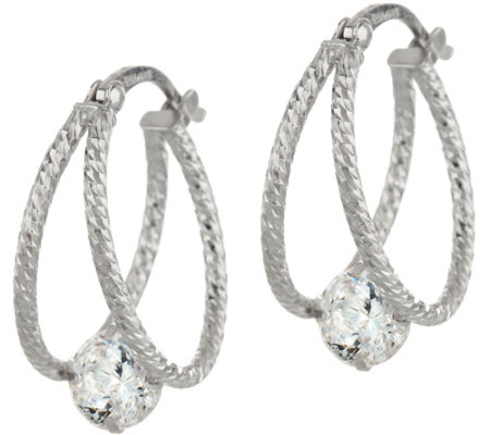 Diamonique 100 Facet Diamond Cut Split Hoops