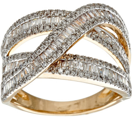 Baguette & Round Diamond Highway Ring, 14K, 1.00 cttw by Affinity