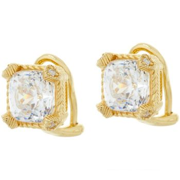 Judith Ripka 14K Clad 118 Facet Cushion Diamonique Earrings