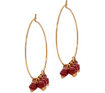 31 Bits Goldtone Melah Hoop Earrings with Dangling Beads - J349309