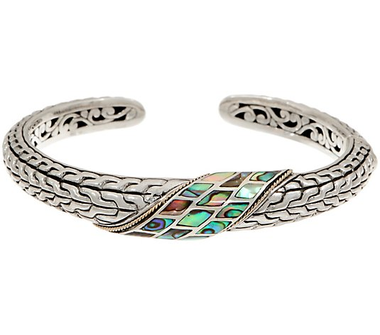 Sterling Silver Bangle With Abalone