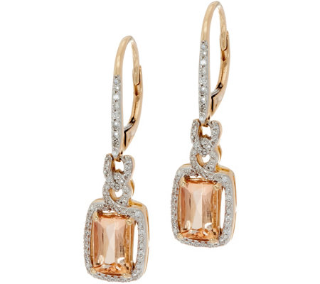 Emerald Cut Imperial Topaz & Diamond Drop Earrings, 14K 1.75 cttw