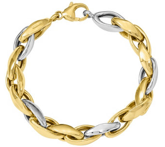 "14K Two-tone Polished Oval Link 8""  Bracelet, 15.6g - J374809"