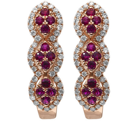 14K Rose Gold 0.30 cttw Ruby & 1/4 cttw Diamond Earrings