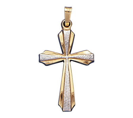 14K Gold Two-tone Cross Pendant