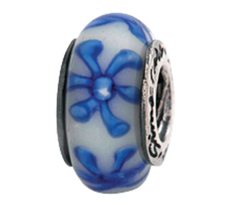 Prerogatives Sterling Blue Floral Glass Bead