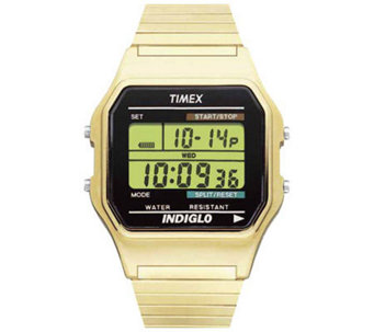 Timex Men's Digital Goldtone Expansion Band Bracelet Watch - J109010