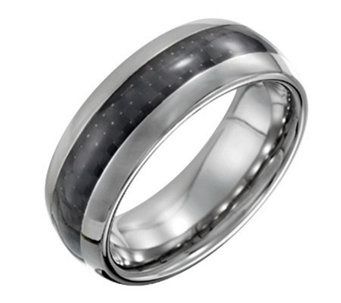 Forza Men's 8mm Steel Polished Ring with CarbonFiber - J109510