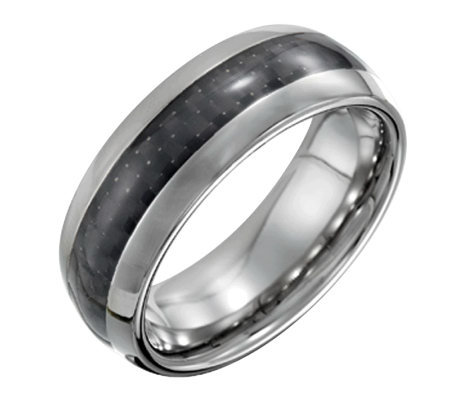 Forza Men's 8mm Steel Polished Ring with CarbonFiber
