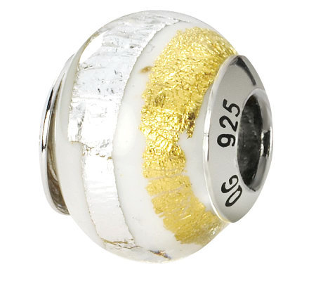 Prerogatives Sterling White and Gold Italian Murano Glass Bead