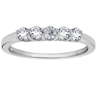 Diamonique 5 Stone 100-Facet Anniversary Ring, Platinum Clad - J112410