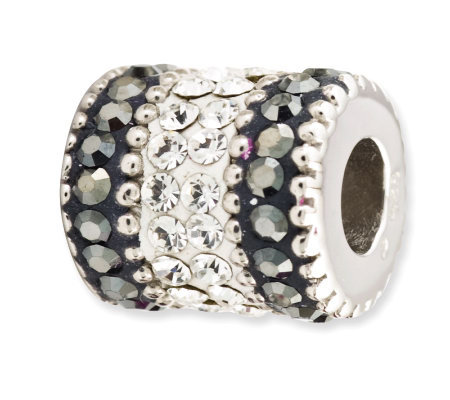 Prerogatives Sterling Black Crystal Barrel Bead