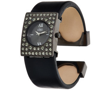 LOGO Links_by Lori Goldstein Leather Cuff Watch with Crystal Bezel - J152910