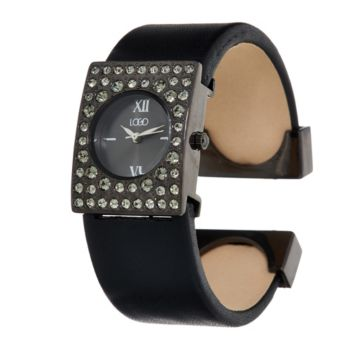 LOGO Links_by Lori Goldstein Leather Cuff Watch with Crystal Bezel