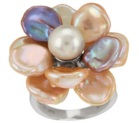 Honora Cultured Pearl 9.0mm Petal Keshi Flower Sterling Ring