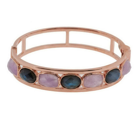 """As Is"" VicenzaSilver Sterling Multi-gemstone Bangle"
