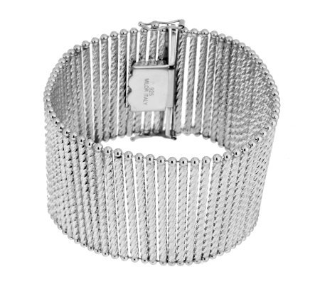 "Vicenza Silver Sterling 7-1/4"" Bold Diamond Cut Bar Station Bracelet, 37.0g"