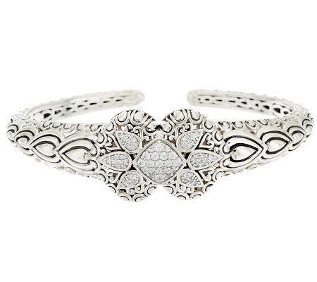 JAI Bali Lanna Sterling 0.50ct Diamonique Cuff Bracelet