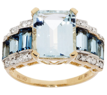 2.40 ct Emerald Cut Aquamarine, London Blue Topaz & Diamond Ring, 14K Gold