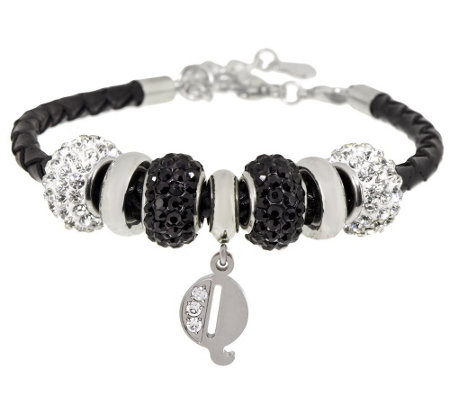Stainless Steel Black Leather Bracelet with Initial and Crystal Station