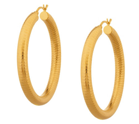 """As Is"" Sterling 1-3/4"" Textured Round Hoop Earrings"