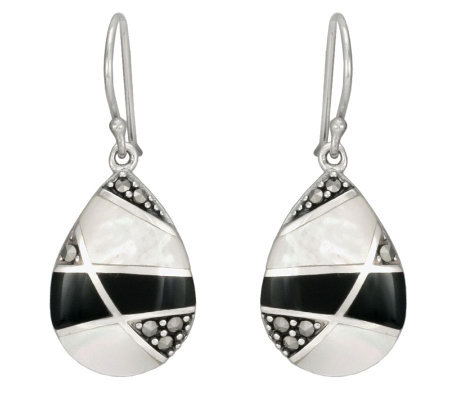 Suspicion Sterling Marcasite Onyx & Mother-of-Pearl Earrings