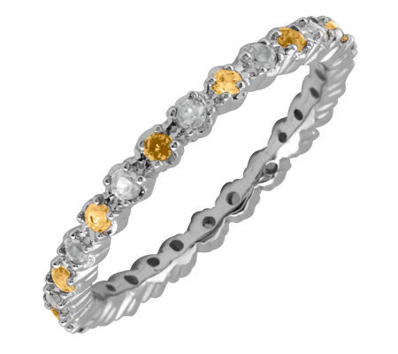 Simply Stacks Sterling Citrine & Diamond Stackable Ring