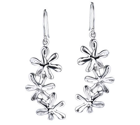 Hagit Gorali Sterling Triple Flower Drop Earrings