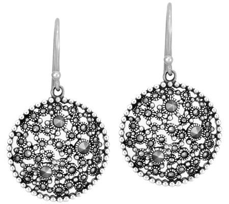 Suspicion Sterling Marcasite Round Dangle Earrings