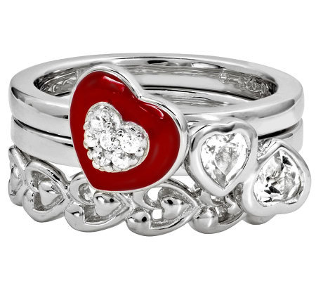 Simply Stacks Sterling Red Hot Love Ring Set