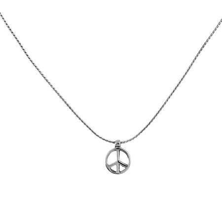 "Sterling 16"" Solid Peace Sign Necklace"