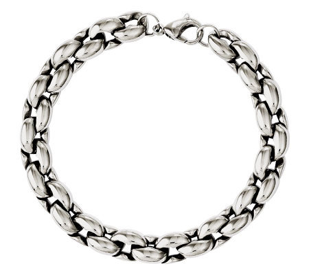 "Stainless Steel 8"" Polished Circle Link Bracelet"
