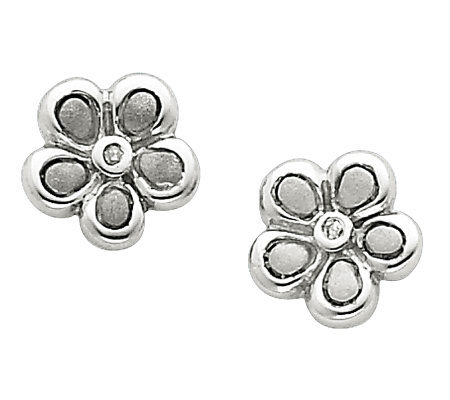 Sterling Diamond Accent Satin Flower Post Earrings