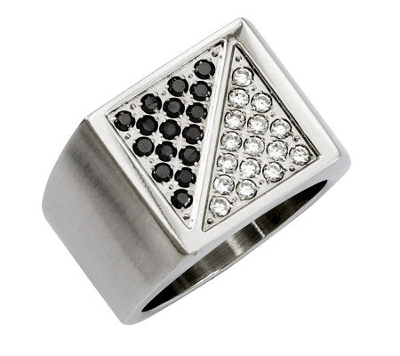 Forza Men's Stainless Steel 1/4 cttw Black&White Diamond Ring