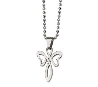 "Stainless Steel Polished Cross Pendant w/ 22"" Chain - J313110"