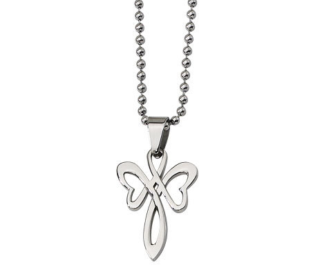 "Stainless Steel Polished Cross Pendant w/ 22"" Chain"