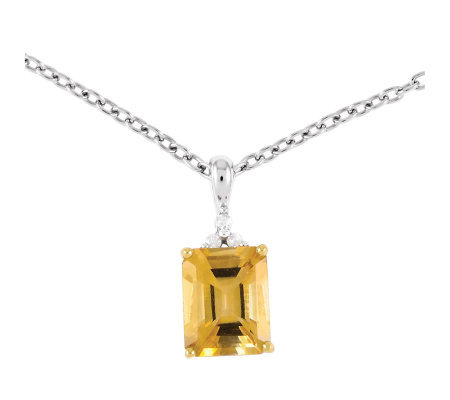 "Sterling Two-Tone 2.90 cttw Citrine 18"" Necklace"