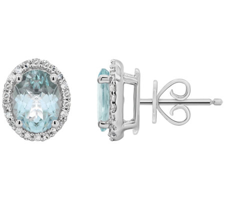 Sterling Aquamarine 1/5 ct tw Diamond Halo StudEarrings