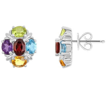 Sterling 2.55 ct tw Multi-Gemstone Cluster Earrings