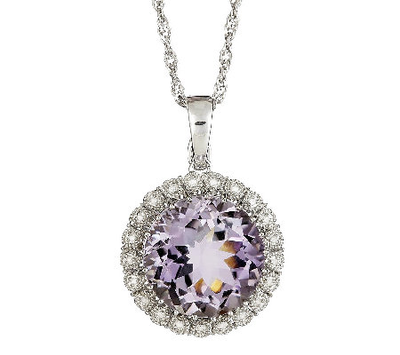 "Sterling Round Gemstone & Diamond Pendant with18"" Chain"