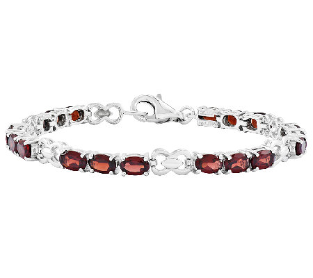 "Sterling 7"" Oval Gemstone Infinity Tennis Brace let"