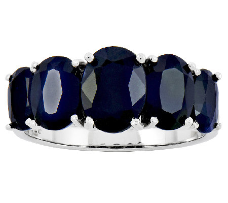 Sterling 4.60 ct tw Oval Sapphire 5-Stone Ring