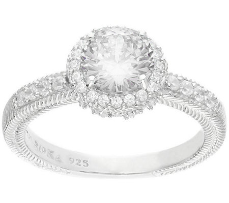Judith Ripka Sterling 2.40 cttw Round Diamonique Halo Ring