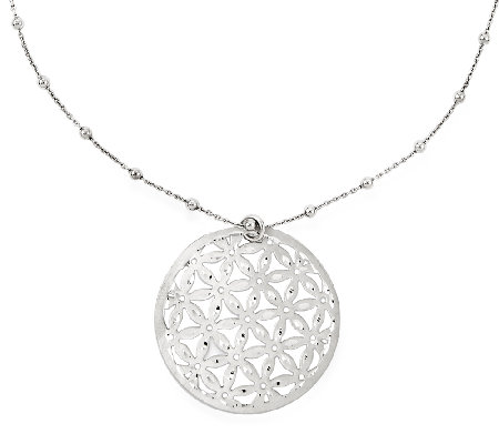 "Sterling Diamond-Cut Floral Pendant w/ 17"" BeadStation Chain"