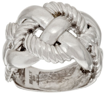 VicenzaSilver Polished and Textured Braided Design Ring - J317310