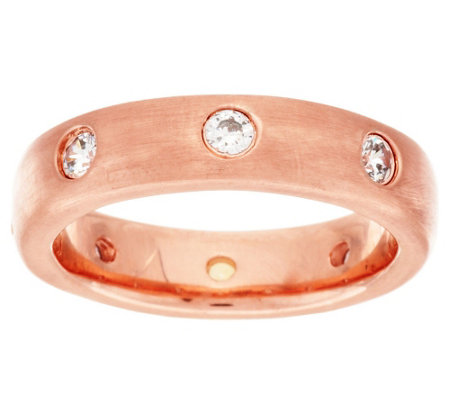 Bronze Crystal Station Satin Finish Band Ring by Bronzo Italia