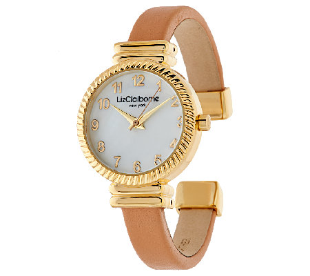 Liz Claiborne New York Textured Bangle Watch