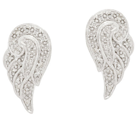 Angel Wing Diamond Studs Sterling, 1/8 cttw, by Affinity
