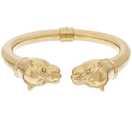 14K Gold Polished Small Panther Head Hinged Cuff