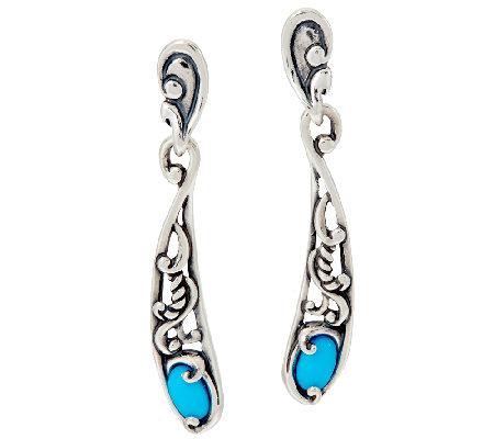 Carolyn Pollack Sterling Silver Sleeping Beauty Turquoise Linear Earrings